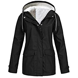 HEATLE Jacket Women, Plus Size S-5XL Waterproof Windproof Raincoats Solid Zipper Long Sleeve Pockets Fashion Casual Sport Outdoor Hoodie Coats