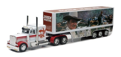 Peterbilt Tractor Trailer Diecast Toy - New-Ray Toys Inc. 10443 1/32 John Wayne Long Hauler White Cab