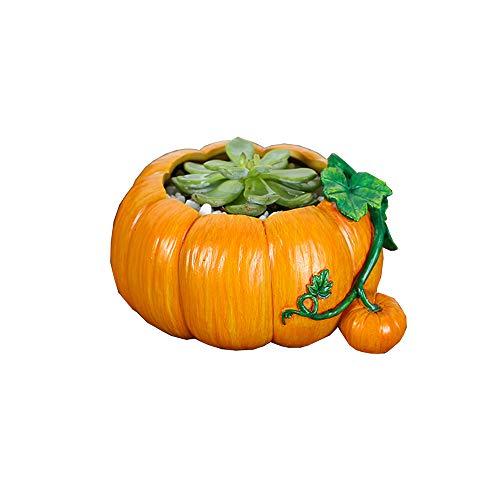 HTFGNC Creative Pumpkin Shaped Resin Flower Pots Succulent Planters Vase Home Office Art ()