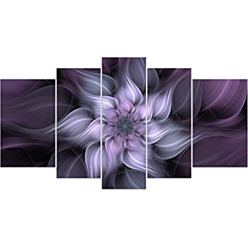 Amazon.com: Bunch Of Flowers In White And Dark Purple Wall Art ...