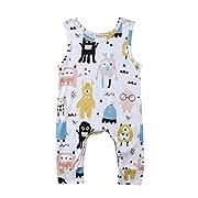 YAZAD Toddler Infant Baby Boys Girls Onesies Cute Cartoon Pattern Romper Sleeveless Bodysuit Jumpsuit Outfit (90/9-12M, White)