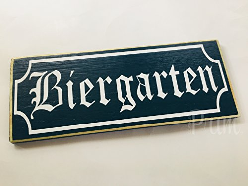 Biergarten 14x6 (Choose Color) Germany Oktoberfest Custom Handmade Wood Sign for $<!--$34.95-->