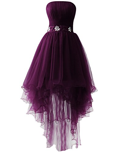 Prom High Low Dresses Strapless JAEDEN Homecoming Grape Dress Cocktail 5twqnUn1