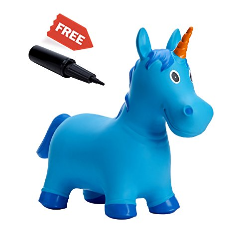 Babe Fairy Jumping Animals,Inflatable Bouncer Seat,Horse Hopper Ride-on Toddlers Toys for Children (Blue Unicorn) by Babe Fairy