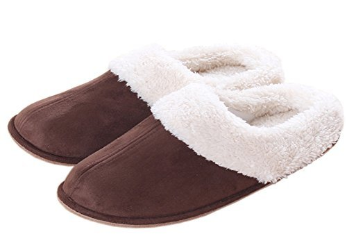 iHomey Couples Soft Suede Fleece Indoor House Slippers Warm Skid-Proof Clog Slippers Slip On Mule Footwear For Autunm Winter (Coffee,EU 40-42)