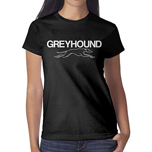 M.STRA Womens Ladies Cotton Black Short Sleeved Greyhound-Bus- T-Shirts