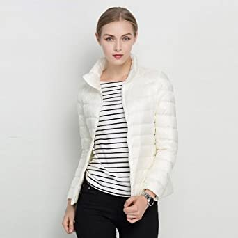 3ddd5fe0489d Image Unavailable. Image not available for. Color: Women Winter Coat 2017  New Ultra Light White Duck Down Jacket Slim Women Winter Puffer Jacket