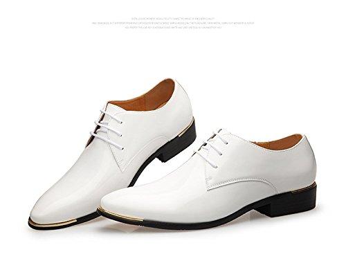 Derby Business Hommes Chaussures Ville à Lacet Microfibre Vernis Transparent Commercial Confortable Respirent Pointure Bloc Talon Loisir Fashion Mariage Soulier Blanc 1RVsBw