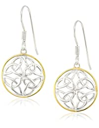Rhodium and 18k Yellow Gold Plated Sterling Silver Celtic Knot Round Drop Wire Earrings