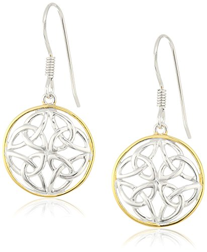 Two Earrings 18k Tone (18k Yellow Gold Plated Sterling Silver Two Tone Celtic Knot Round Drop Earrings)