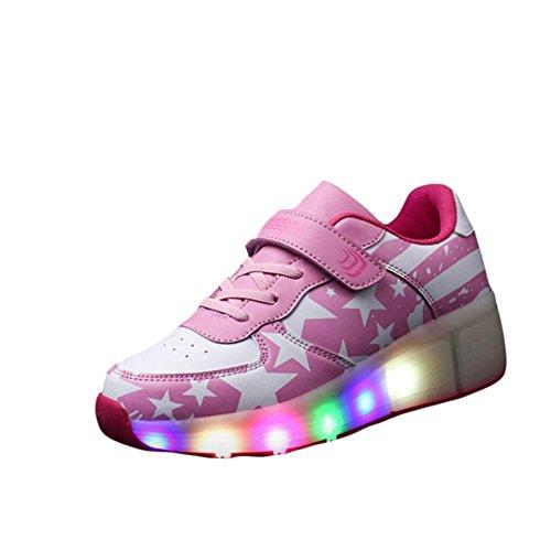 CICI Kind Jazzy Schuhe Junior Mädchen / Jungen LED Licht Schuhe Kinder Roller Skate Kinder Turnschuhe mit Rädern (1, Rosa)