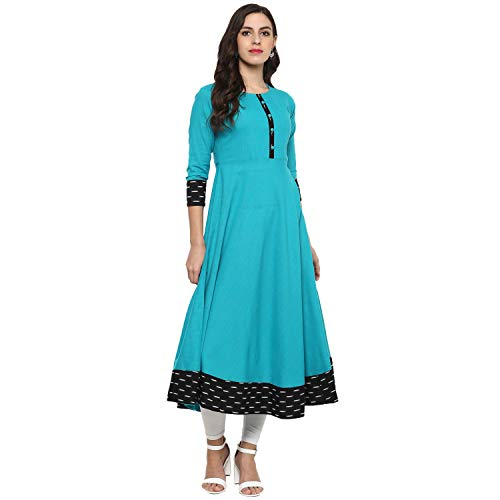 Yash Gallery Indian Tunic Tops Women's Cotton Printed Anarkali Kurta (Firozi, XL)