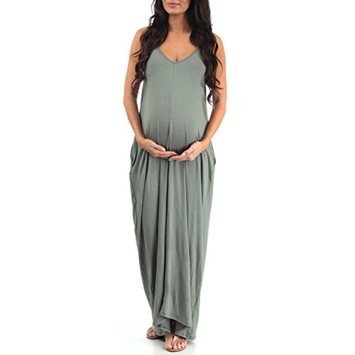 Couture Dress Womens (Mother Bee V-Neck Cami Maternity Maxi Dress with Adjustable Straps by Rags and Couture)