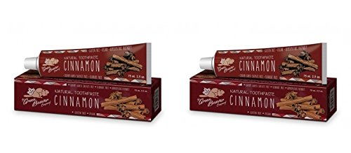 Beaver Green - Green Beaver Cinnamon Natural Toothpaste (Pack of 2) with Cinnamon Bark Oil, Lemon Extract and Xylitol, Flouride-free, Gluten-free, Cruelty-free, Vegan and Biodegradable, 2.5 oz