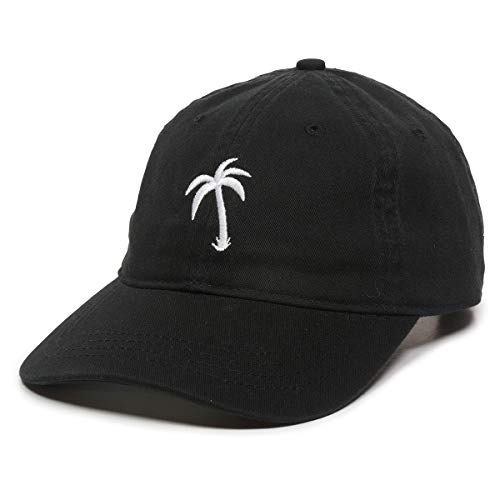 Palm Tree Embroidered Dad Hat - Adjustable Polo Style Baseball Cap - Relaxed Fit