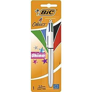 BIC 4-Color Shine Penna a sfera con 4 colori d'inchiostro, effetto metallizzato, 1 pezzo, colori assortiti