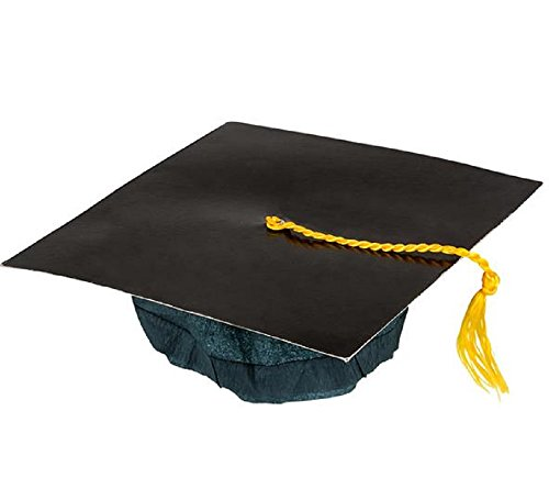 BLACK CARDBOARD GRADUATION CAP. 12 PIECES. (Halloween Costume Winners)