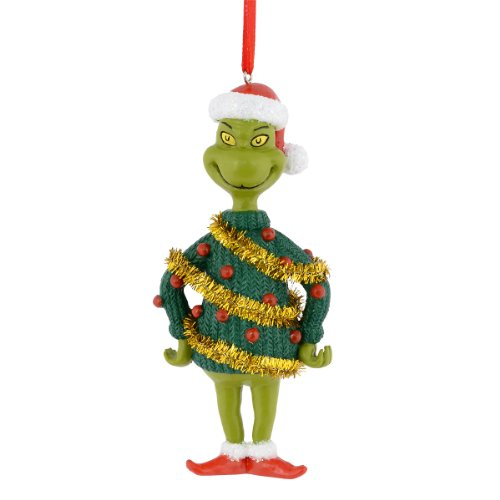 Department 56 Grinch Tinsel Sweater Hanging Ornament, 4 inch