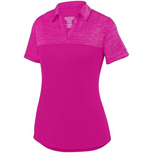 Augusta Sports Ladies Shadow Tonal Heather Sport Shirt, Power Pink, Medium