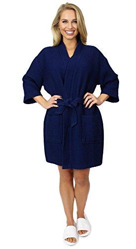 Indulge Premium Linen Women's Thigh Length Waffle Kimono Robe (Small/Medium, Navy Blue)