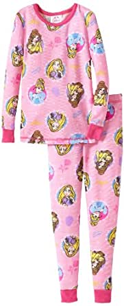 Komar Kids Little Girls'  Princess Tight Fitting Thermal Pajama Set, Pink, 4