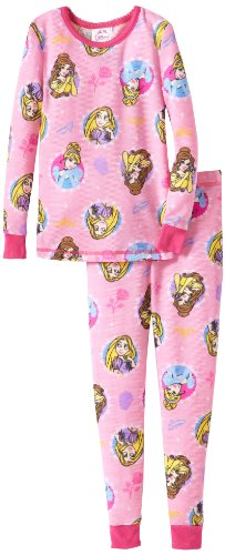 Komar Kids Girls 2-6X Princess Tight Fitting Thermal Pajama Set