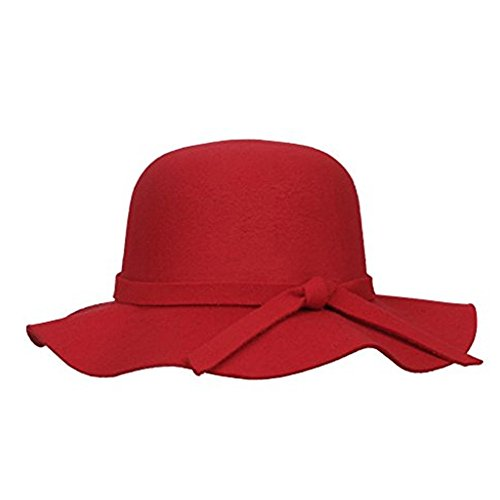 Dealzip Inc Epic Floppy Hats, Girls Floppy Hat,Classic Vintage Style Kids Girls Wide Brim Imitation Wool Felt Bowler Fedora Cloche Floppy Beach Sun Hat Cap With Lovely Bow Band (Red) Classic Red Felt Hat