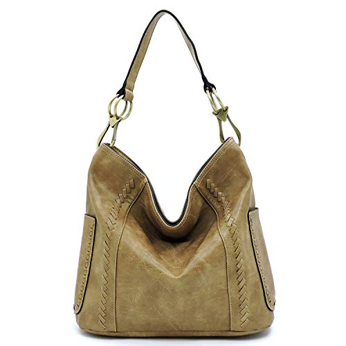 - Vegan faux leather soft and slouchy bucket hobo handbag with detachable cross-body strap (Stone)