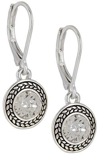 "Napier ""Color Declaration"" Silver-Tone Crystal Swarovski Stone Leverback Drop Earrings"