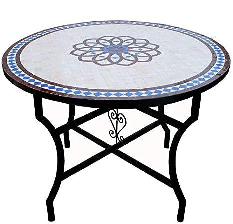 Saharashop Table de Jardin en mosaïque Orientale Ronde Ø 100 ...