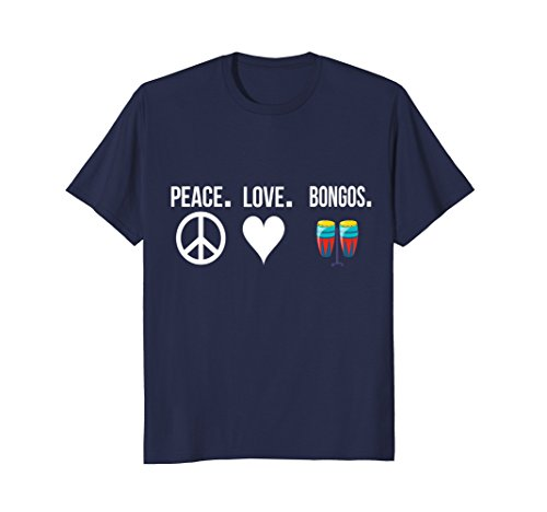 Mens Peace Love Bongos T-Shirt Bongo Player Drums Gift Idea 2XL Navy