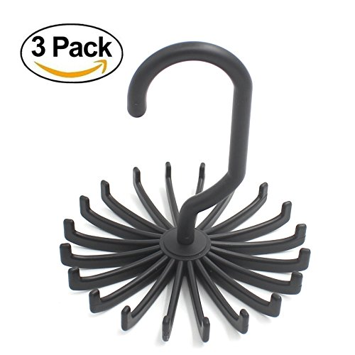3 Pack - Zicome Adjustable Rotating 20 Hook Neck Ties Organizer Twirling Tie Rack Hanger Holder (Black)