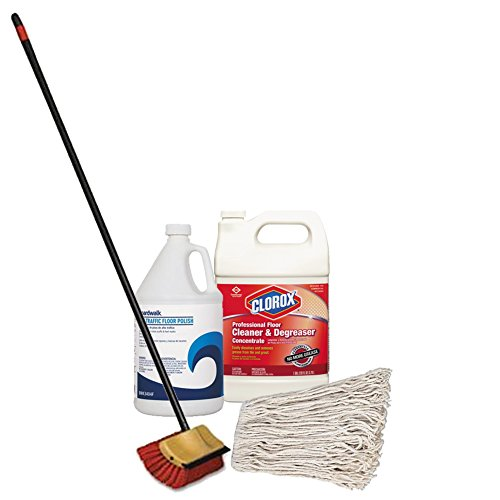 - Boardwalk Banded Cotton Mop Head + Boardwalk High Traffic Floor Finish + Clorox Professional Floor Cleaner and Degreaser, Citrus, 1 gal Bottle + Scrub Brush Bi-Level Floor With Squeegee And Handle