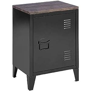 MEUBLE COSY Petit meuble en Acier Noir, Casier en Métal avec Deux étagères et d'un Dessus en Oak, Table de Chevet Style…