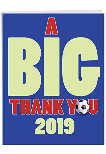 Jumbo Hilarious Graduation Thank You Card From All of Us: Soccer - 2019 a Fantastic Idea for Anyone on the Team, or the Coach, with Envelope (Big Size: 8.5
