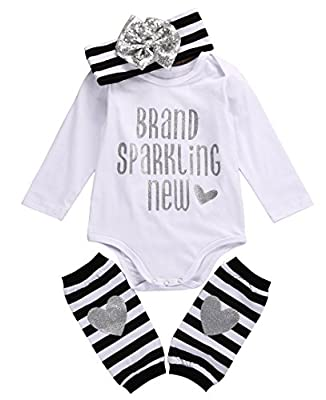 Baby Girls 3Pcs Outfit,Brand Sparking New Bodysuit,Leg Warmers and Headband