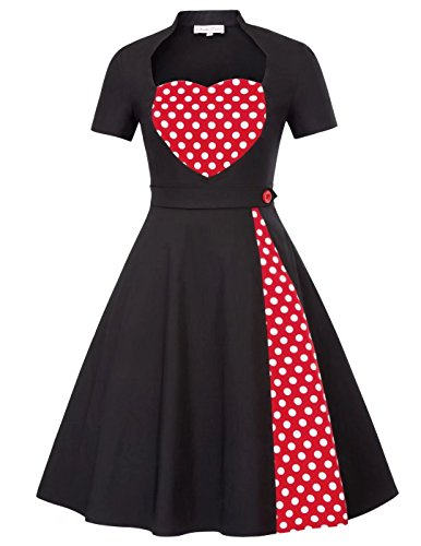 Belle Poque Women Short Sleeve 1950s Rockabilly Party Swing Dress Size L Black - 1950 Women Fashion