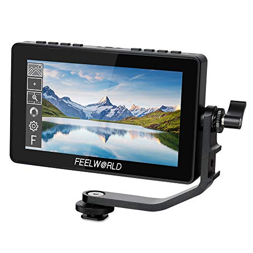 FEELWORLD F5 Pro 5.5 Inch Touch Screen DSLR Camera Field Monitor with F970 External Kit Install for Power The Wireless Transmission IPS FHD1920x1080 4K HDMI Input Output 5V Type-c Input Tilt Arm