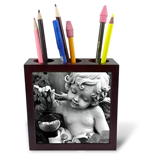3dRose Stamp City - Sculptures - Photograph of Black and White Angel Statue Holding Lantern. - 5 inch Tile Pen Holder (ph_289736_1) (Black Statue Lantern With)