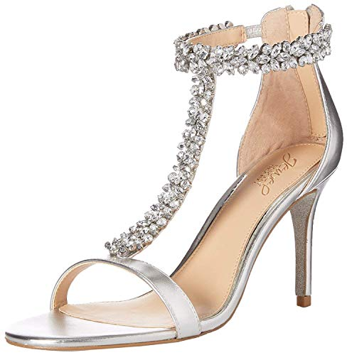 Jewel Badgley Mischka Women's Janna Heeled Sandal, Silver, 5.5 M US ()