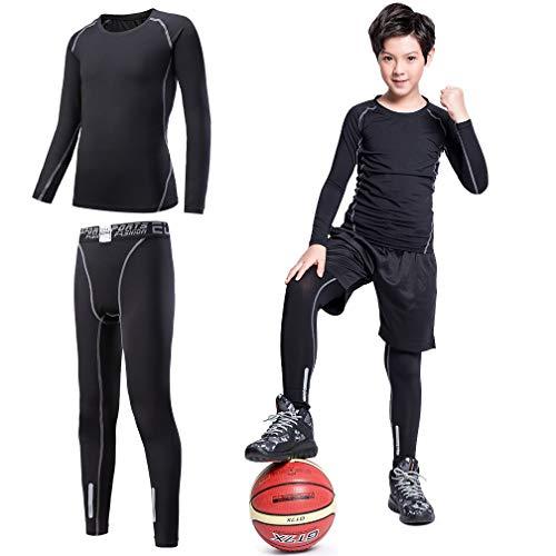 Tesuwel 2/3/4 Pcs Boys Girls Base Layer Athletic Compression Leggings and  Shirts Thermal Underwear Set Running Pants Tights Active Active Base Layers