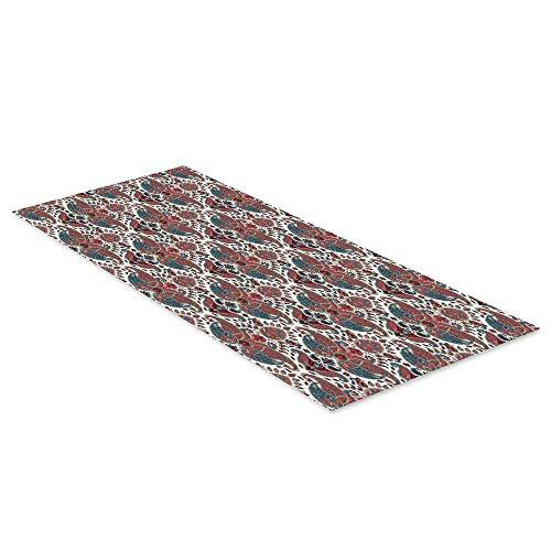 (C COABALLA Paisley Waterproof Floor Sticker,Oriental Damask Ethnic Design Persian Effects Feminine Aged Pattern for Kitchen Living Room,35.4
