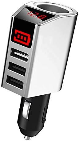 12 / 24V電圧に適し3USB急速充電車の充電器、スマートデジタルディスプレイの車の充電器のシガーライタープラグ、,銀