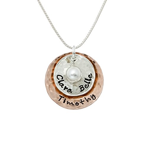 Deux Amore Multi-Tone Two Disc Necklace Personalized on Sterling Silver and Rose Gold Plated Discs with your Choice of Names. Includes Swarovski Pearl. Hand finished and Includes 925 ()