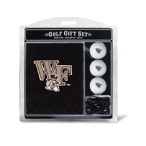 (Team Golf NCAA Wake Forest Demon Deacons Gift Set Embroidered Golf Towel, 3 Golf Balls, and 14 Golf Tees 2-3/4