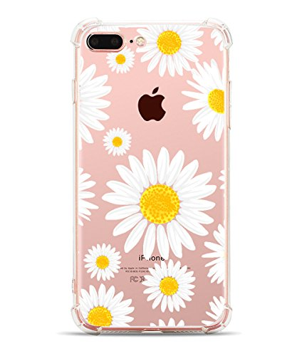iPhone 7 Plus Case Real Floral iPhone 8 Plus Case Hepix Print Flower Soft TPU Slim-Fit Flexible Ultra-Thin Clear Case with Marguerite Flower Petal Apple Phone 5.5