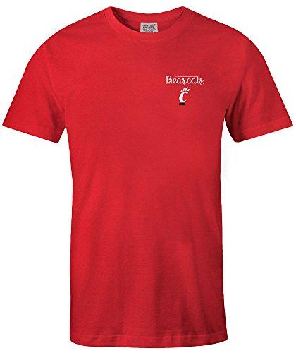 NCAA Cincinnati Bearcats Adult NCAA Sketchbook Comfort Color Short sleeve T-Shirt, Large,Red