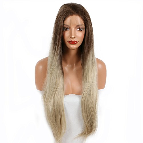 Brown Ombre Blonde Two Tone Color Natural Straight Long Hair Synthetic Lace Front Wigs for Women Ladies Girls Replacement Wig Heat Resistant Glueless Half Hand Tied Lace Free Parted (Parted Brown Wig)