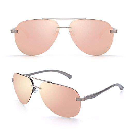 sol sol UV400 Prima completas de Al polarizadas Rosa gafas gafas CGID Hombres Pilot duplicadas bisagras C de aleación Arma Mujeres GA61 para de de Mg resorte nzPPaH