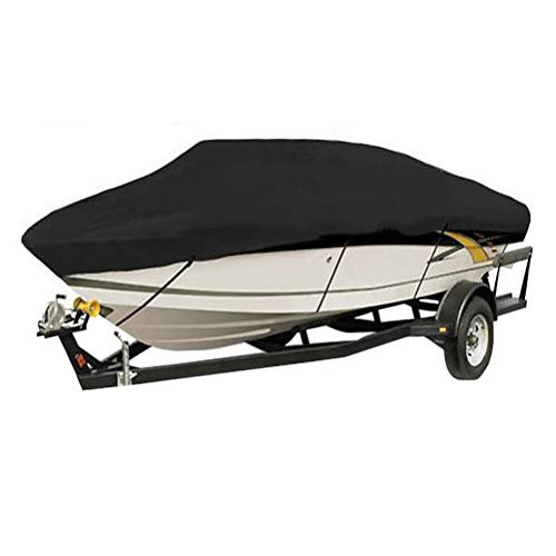 Trolling Motor Center Console - Heavy Duty Grade Dustcoat Waterproof Boat Cover Yacht Covers Fits V-Hull Tri-Hull Runabout Boat Cover,Black,700x254CM